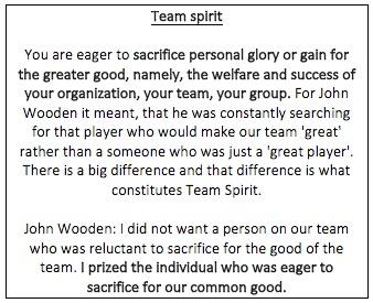 Wooden team spirit